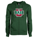 ENZA Ladies Dark Green Fleece Full Zip Hoodie-WashU