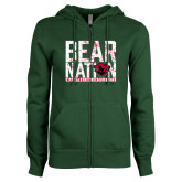 ENZA Ladies Dark Green Fleece Full Zip Hoodie-Bear Nation
