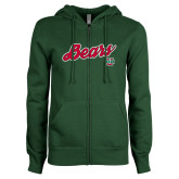ENZA Ladies Dark Green Fleece Full Zip Hoodie-Bears Script