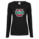 Ladies Black Long Sleeve V Neck Tee-WashU