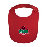 Red Baby Bib-Wash U w/Bear