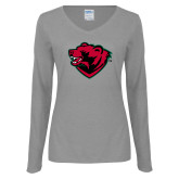 Ladies Grey Long Sleeve V Neck Tee-Bear Head