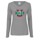 Ladies Grey Long Sleeve V Neck Tee-WashU