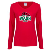 Ladies Red Long Sleeve V Neck Tee-Wash U w/Bear