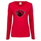 Ladies Red Long Sleeve V Neck Tee-Bear Head