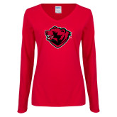 Ladies Red Long Sleeve V Neck Tee-Bear Head