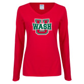 Ladies Red Long Sleeve V Neck Tee-WashU