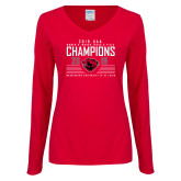 Ladies Red Long Sleeve V Neck Tee-2019 UAA Womens Indoor Track and Field Champions