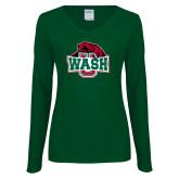 Ladies Dark Green Long Sleeve V Neck Tee-Wash U w/Bear
