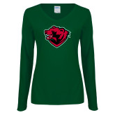 Ladies Dark Green Long Sleeve V Neck Tee-Bear Head