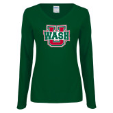 Ladies Dark Green Long Sleeve V Neck Tee-WashU