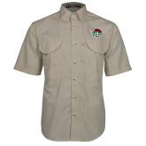 Khaki Short Sleeve Performance Fishing Shirt-Wash U w/Bear