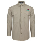 Khaki Long Sleeve Performance Fishing Shirt-Wash U w/Bear