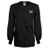 Ladies Black Snap Front Warm Up Scrub Jacket-Wash U w/Bear