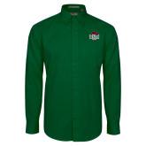 Dark Green Twill Button Down Long Sleeve-Wash U w/Bear