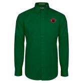Dark Green Twill Button Down Long Sleeve-Bear Head