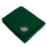 Dark Green Arctic Fleece Blanket-Wash U w/Bear