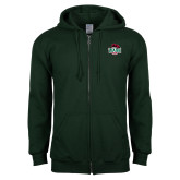Dark Green Fleece Full Zip Hoodie-Wash U w/Bear
