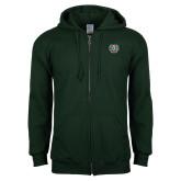 Dark Green Fleece Full Zip Hoodie-WashU