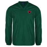 V Neck Dark Green Raglan Windshirt-Bear Head