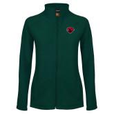 Ladies Fleece Full Zip Dark Green Jacket-Bear Head