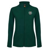 Ladies Fleece Full Zip Dark Green Jacket-WashU