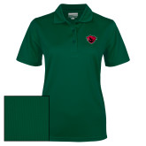 Ladies Dark Green Dry Mesh Polo-Bear Head