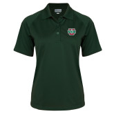 Ladies Dark Green Textured Saddle Shoulder Polo-WashU