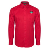 Red Twill Button Down Long Sleeve-Wash U w/Bear