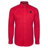 Red Twill Button Down Long Sleeve-Bear Head
