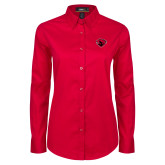 Ladies Red Twill Button Down Long Sleeve-Bear Head