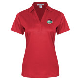 Ladies Red Performance Fine Jacquard Polo-Wash U w/Bear