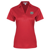 Ladies Red Performance Fine Jacquard Polo-WashU