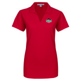 Ladies Red Dry Zone Grid Polo-Wash U w/Bear