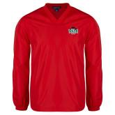 V Neck Red Raglan Windshirt-Wash U w/Bear