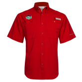 Columbia Tamiami Performance Red Short Sleeve Shirt-Wash U w/Bear