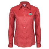 Ladies Red House Red Long Sleeve Shirt-Wash U w/Bear