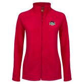 Ladies Fleece Full Zip Red Jacket-Wash U w/Bear
