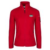 Columbia Ladies Full Zip Red Fleece Jacket-Wash U w/Bear