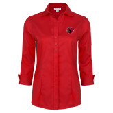 Ladies Red House Red 3/4 Sleeve Shirt-Bear Head