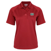 Ladies Red Textured Saddle Shoulder Polo-WashU