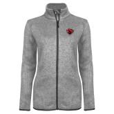 Grey Heather Ladies Fleece Jacket-Bear Head