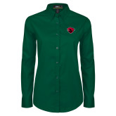 Ladies Dark Green Twill Button Down Long Sleeve-Bear Head