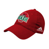 Adidas Red Slouch Unstructured Low Profile Hat-Wash U w/Bear