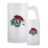 Full Color Decorative Frosted Glass Mug 16oz-Wash U w/Bear