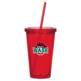 Madison Double Wall Red Tumbler w/Straw 16oz-Wash U w/Bear