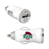 On the Go White Car Charger-Wash U w/Bear
