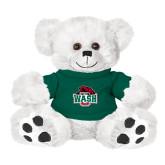 Plush Big Paw 8 1/2 inch White Bear w/Dark Green Shirt-Wash U w/Bear