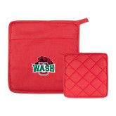 Quilted Canvas Red Pot Holder-Wash U w/Bear