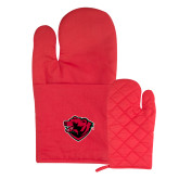 Quilted Canvas Red Oven Mitt-Bear Head